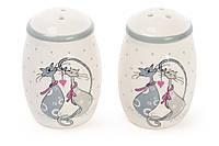 Набор для специй керамический с объемным рисунком Влюбленные коты: солонка и перечница