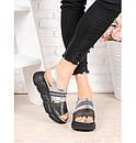 Женские кожаные сандалии на платформе черной 75OB03, фото 2
