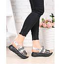 Женские кожаные сандалии на платформе черной 75OB03, фото 3