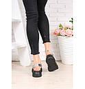 Женские кожаные сандалии на платформе черной 75OB03, фото 4