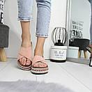 Замшевые женские босоножки на платформе 74OB10, фото 4