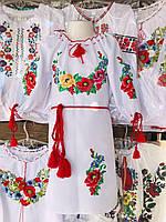 Платье вышитое для девочки с цветами и поясом