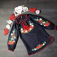 Платье вышитое для девочки с полевыми цветами