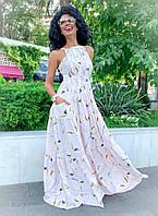 """Длинное летнее платье-сарафан """"Margo"""" с карманами и открытой спиной (2 цвета)"""