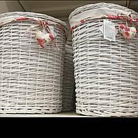 Корзина для белья плетёная белая 35л