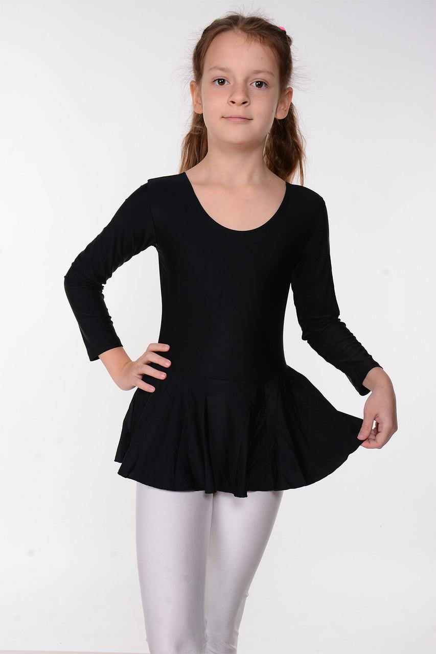 Детский гимнастический купальник с юбкой для танцев Черный рост от 98 до 158 см