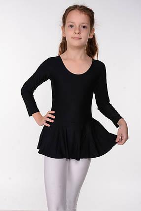 Детский гимнастический купальник с юбкой для танцев Черный рост от 98 до 158 см, фото 2