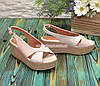 Босоножки женские кожаные на платформе, цвет пудра/бежевый, фото 3