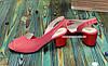 Женские кожаные босоножки на невысоком каблуке, цвет коралл, фото 3