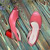 Женские кожаные босоножки на невысоком каблуке, цвет коралл, фото 4
