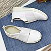 Мокасины кожаные женские на утолщенной подошве, цвет белый, фото 4