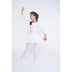 Детский белый купальник с юбкой для танцев и гимнастики