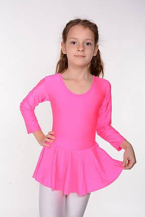 Танцевальный детский купальник с юбкой Розовый, фото 2