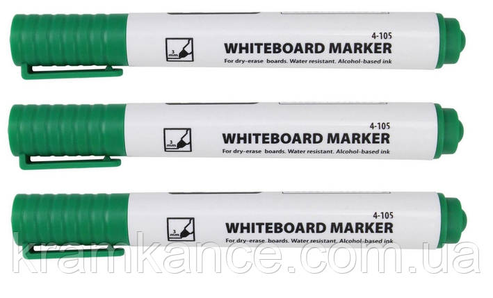 Маркер для доски сухостираемый 4Office 4-105 1-3мм зелен., фото 2