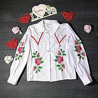 Блуза вышитая для девочки с розами и бантиком
