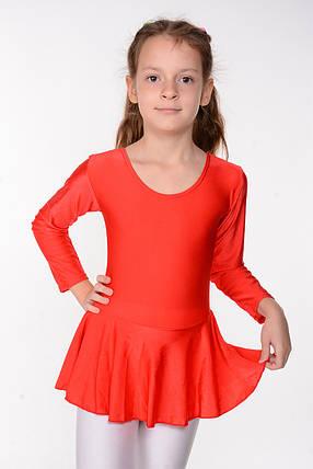 Детский гимнастический купальник с юбкой Красный рост от 98 до 158 см, фото 2