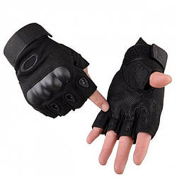 Тактические беспалые перчатки(велоперчатки, мотоперчатки) Oakley Black Размер M