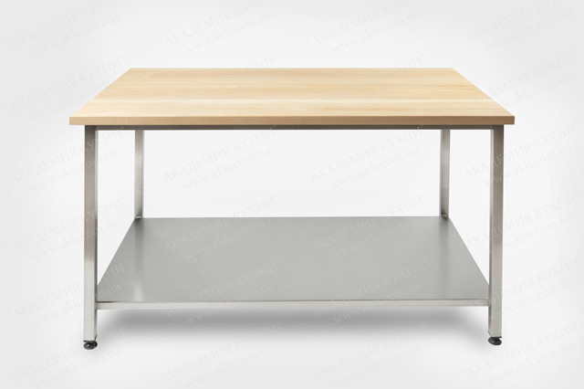 Столы производственные с деревянной столешницей для теста с полкой