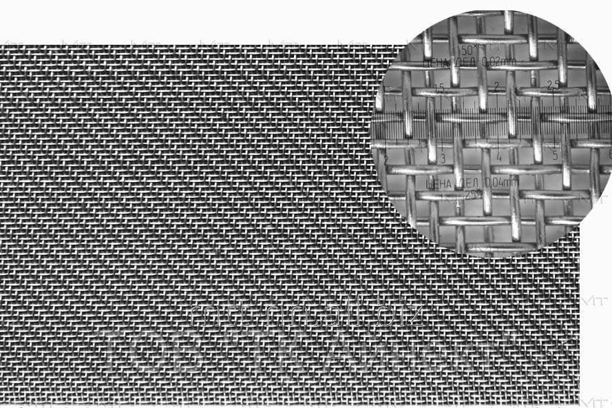 Сетка нержавеющая тканая ячейка 0,071х0,05 AISI 304   08Х18Н10