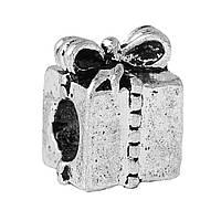 """Бусина """" Подарок """", Металлическая, Цвет: Античное серебро, 11 мм x 8 мм, Отверстие:около 4.6 мм"""