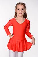 Дитячий купальник з спідницею для танців і хореографії Червоний зростання від 98 до 158 см, фото 1