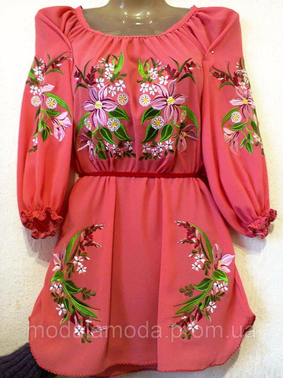 Вышиванка женская розовая с красивыми цветами под заказ