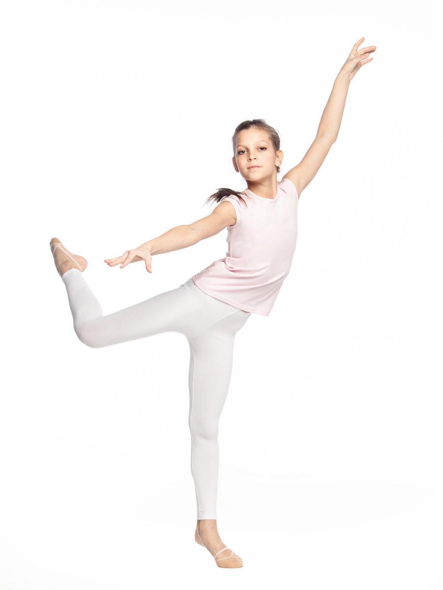 Белые детские лосины для танцев и гимнастики бифлекс