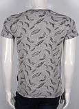 """3D  мужская футболка с принтом """"крылышко"""" в цвете  серый меланж, фото 2"""