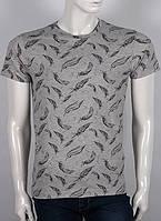 """3D  мужская футболка с принтом """"крылышко"""" в цвете  серый меланж"""