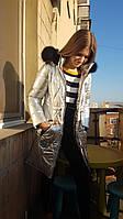 Зимнее подростковое серебристое пальто на девочку, фольга, 36 - 42