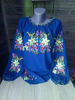 Вышиванка женская синяя с красивыми цветами под заказ