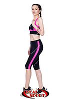 Спортивные бриджи женские RSK 47, черно-розовые (бифлекс, р-р S-L)