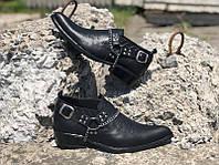 Мужские кожаные туфли казаки Broni черные и коричневые B0038