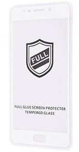 Защитное закаленное стекло FULL GLUE с белой рамкой для Meizu M6Note