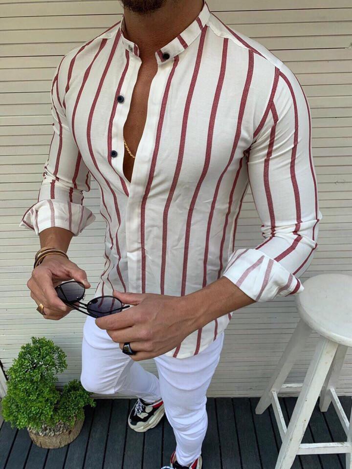 """Мужская рубашка без бренда в полоску""""White/Maroon"""""""