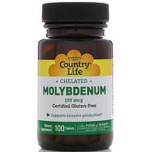 "Хелатный Молибден Country Life ""Chelated Molybdenum"" 150 мкг (100 таблеток)"