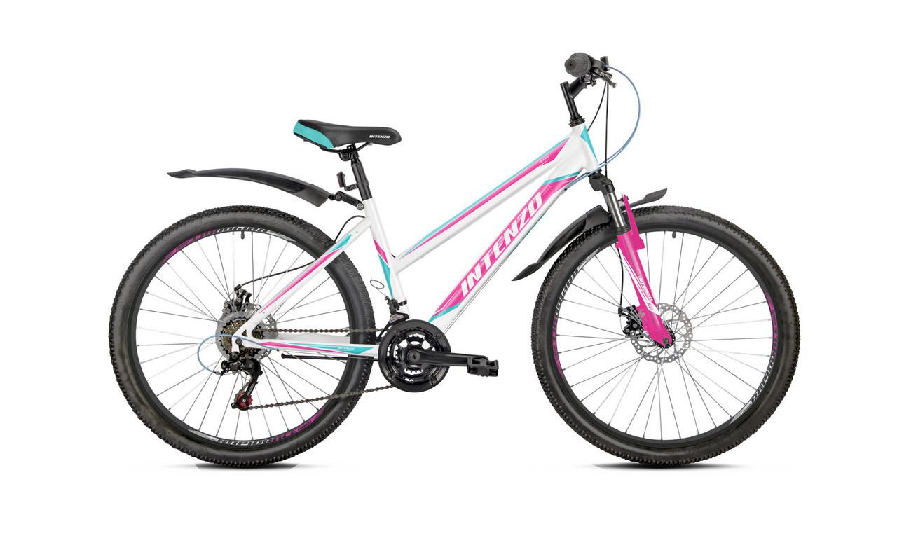 Велосипед спортивний женский  INTENZO DELTA 2019  26' дюйм  15 стальна рама ( 150-175 см)  біло-розовий