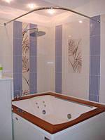 Карниз в ванную, нержавеющая сталь г-образный д25 90х90 см
