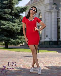 Летнее короткое спортивное платье по фигуре красное