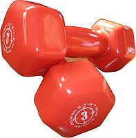 Гантели для фитнеса и аэробики обрезиненные Power System 3 kg PS-4026 (1 шт.), фото 1