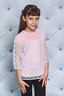 Блуза на дівчинку з сіточкою в горох,3 кольори .Р-ри 122-152