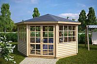 Беседка деревянная шестигранная 4х4 закрытая дачная от производителя Wood Gazebo 016