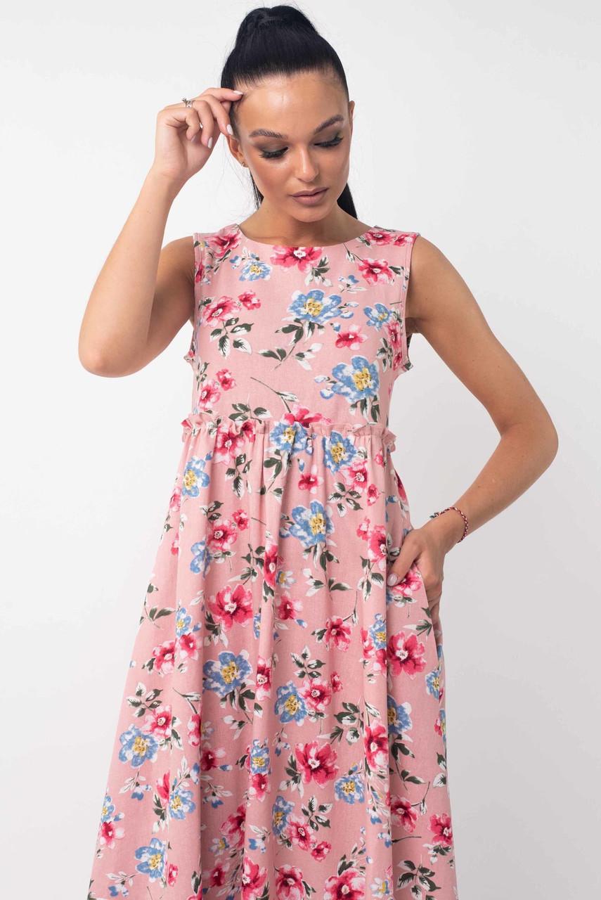 Летнее платье из льна 42 по 52 размер