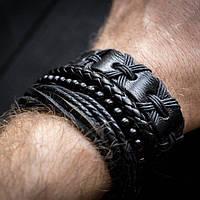 Браслет кожаный мужской mod.HARLEM чёрный, фото 1