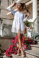 Короткое платье-рубашка с кружевными вставками белое