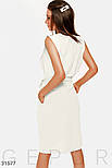 Летнее платье миди с поясом молочное, фото 4