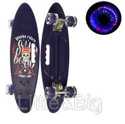 Скейт (пенни борд) Penny board со светящимися колесами ФИОЛЕТОВЫЙ АБСТРАКЦИЯ арт. 0461