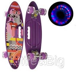 Скейт (пенни борд) Penny board со светящимися колесами СИРЕНЕВЫЙ АБСТРАКЦИЯ арт. 0461