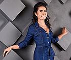 СТИЛЬНОЕ джинсовое платье с поясом NOBILITAS синий джинс хлопок (арт. 18010), фото 2