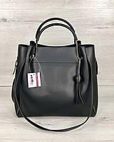 Черная сумка 57004 шоппер с клатчем двойные металлические ручки, фото 1